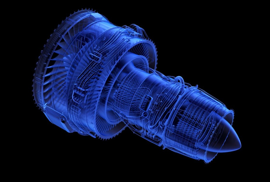 Blue outline of a turbine engine
